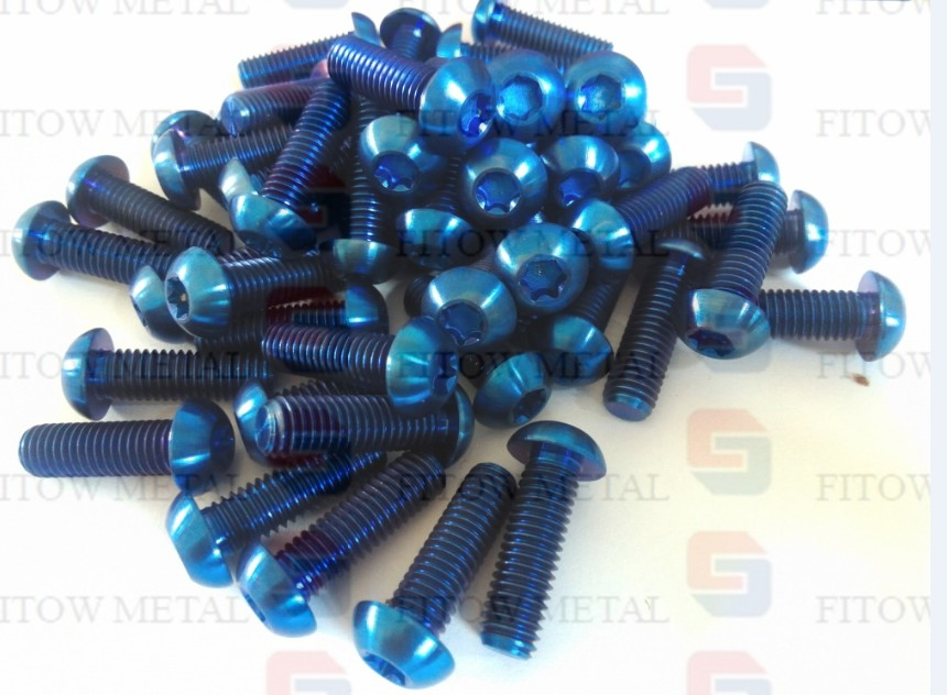 ISO7380 GR5 titanium screws bolts M8 * 25mm blue