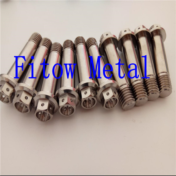 Grade5 Titanium DIN Hex Flange Bolts with Drilled Holes  M12*50mm
